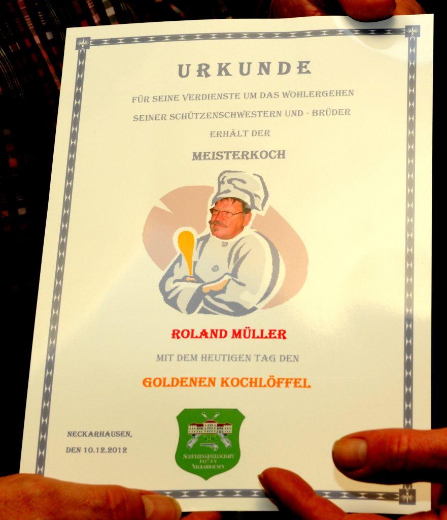 Urkunde Goldener Kochlöffel